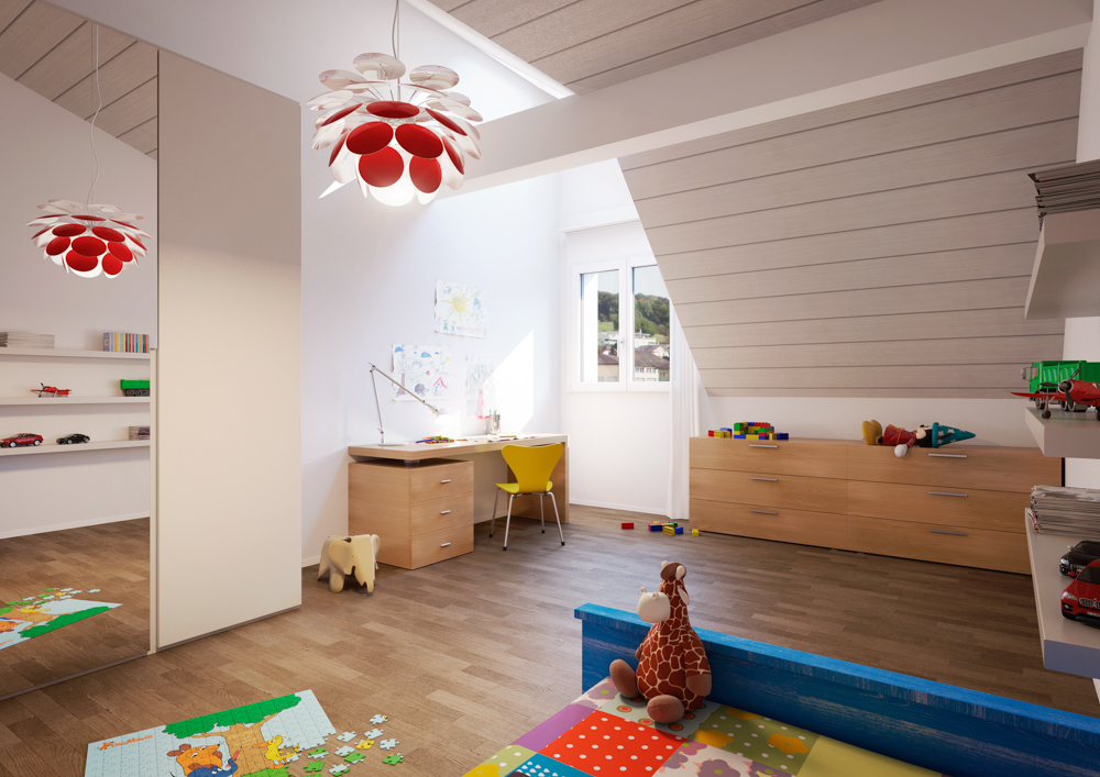 Kinderzimmer einer Dachwohnung