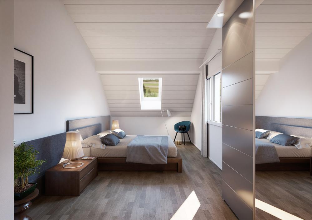 Schlafzimmer einer Dachwohnung